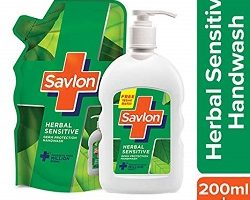Savlon Herbal Sensitive Handwash - 200 ml With Free 185ml Heebal sensitive pouch