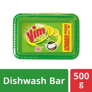 Vim Dishwash Bar Lemon, Scrubber Inside 500gm