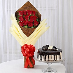 bouquet-of-12-red-roses-chocolate-cake