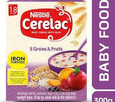 Nestlé CERELAC Fortified Baby Cereal with Milk, 5 Grains & Fruits – From 18 Months, 300g